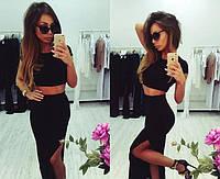 Костюм летний стильный короткий топ + юбка  с разрезом