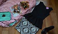 """Костюм летний стильный кофта-баска с вырезом на спинке + юбка  с принтом """"орнамент"""""""