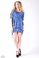 Летнее джинсовое платье-туника с карманами и завязками