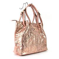 Кожаная розовая сумка vi-050gol шоппер цвета пудра с золотистым отливом и длинными ручками на плечо