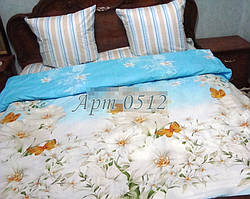 Полуторный комплект постельного белья из бязи, Ромашковое поле на голубом, Арт. 0512 (без компаньона