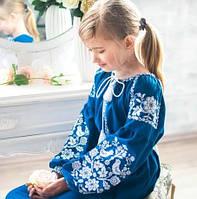 """Вышитое платье для девочки на длинный рукав синего цвета """"Співуча пташечка"""", фото 1"""