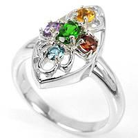 Серебряное кольцо с натуральным аметистом, топазом,гранатом,цитрином и хромдиопсидом