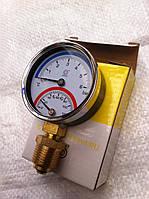 """Термо-манометр 1/2""""нижнего подключения с клапаном"""