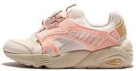 Женские кроссовки Puma Disc Blaze White Beige Pink Trinomic (Пума Диск Блейз) белые