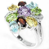 Серебряное кольцо с натуральным топазом, аметистом,гранатом,хризолитом и цитрином