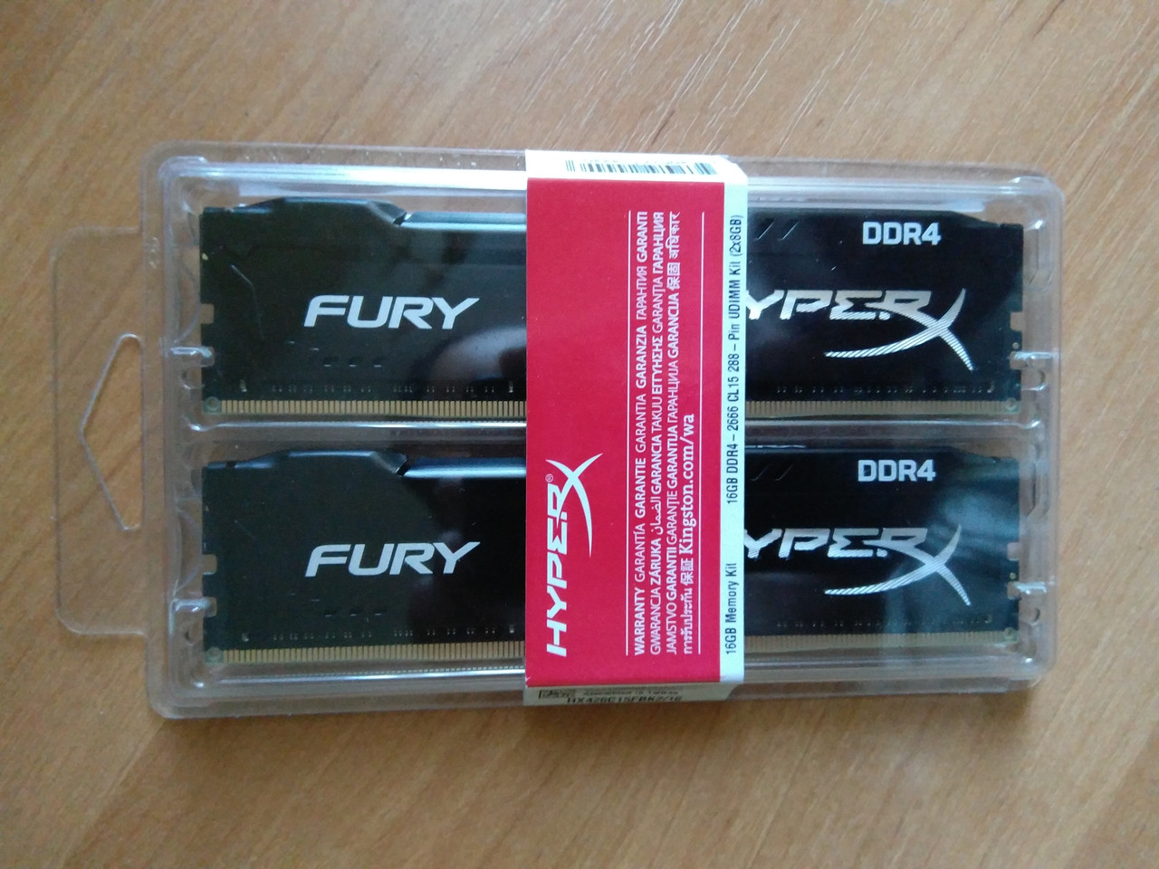 Оперативная память Kingston 16 GB (2x8GB) DDR4 2666 MHz HyperX FURY (HX426C15FBK2/16)