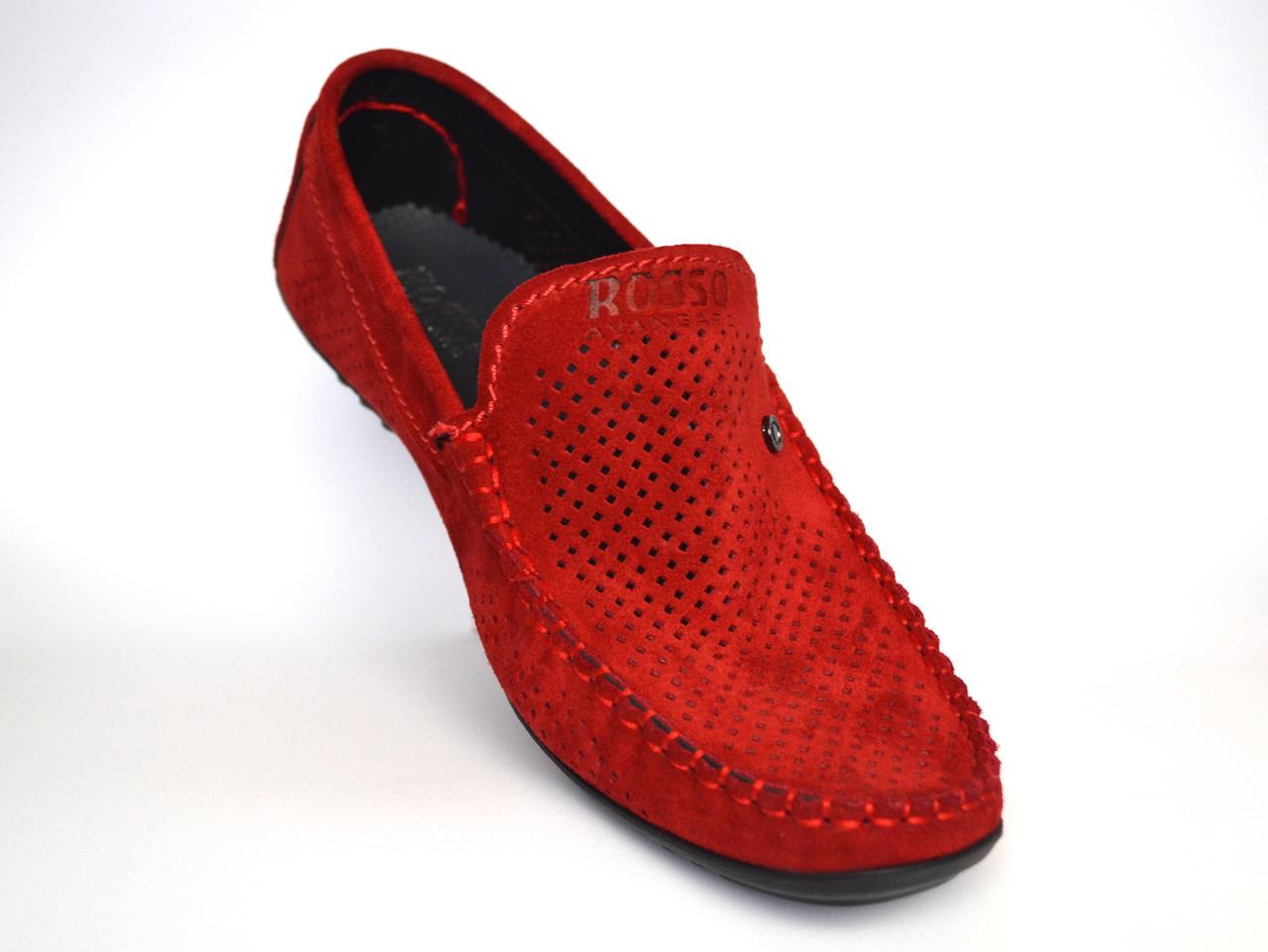 Большой размер. Летние мужские мокасины замшевые с перфорацией красные Rosso Avangard BS Alberto Red Perf