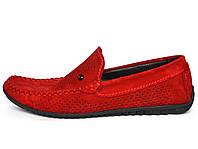 Обувь подросток для мальчика Летние мокасины замшевые с перфорацией красные Rosso Avangard mS Alberto Red Perf