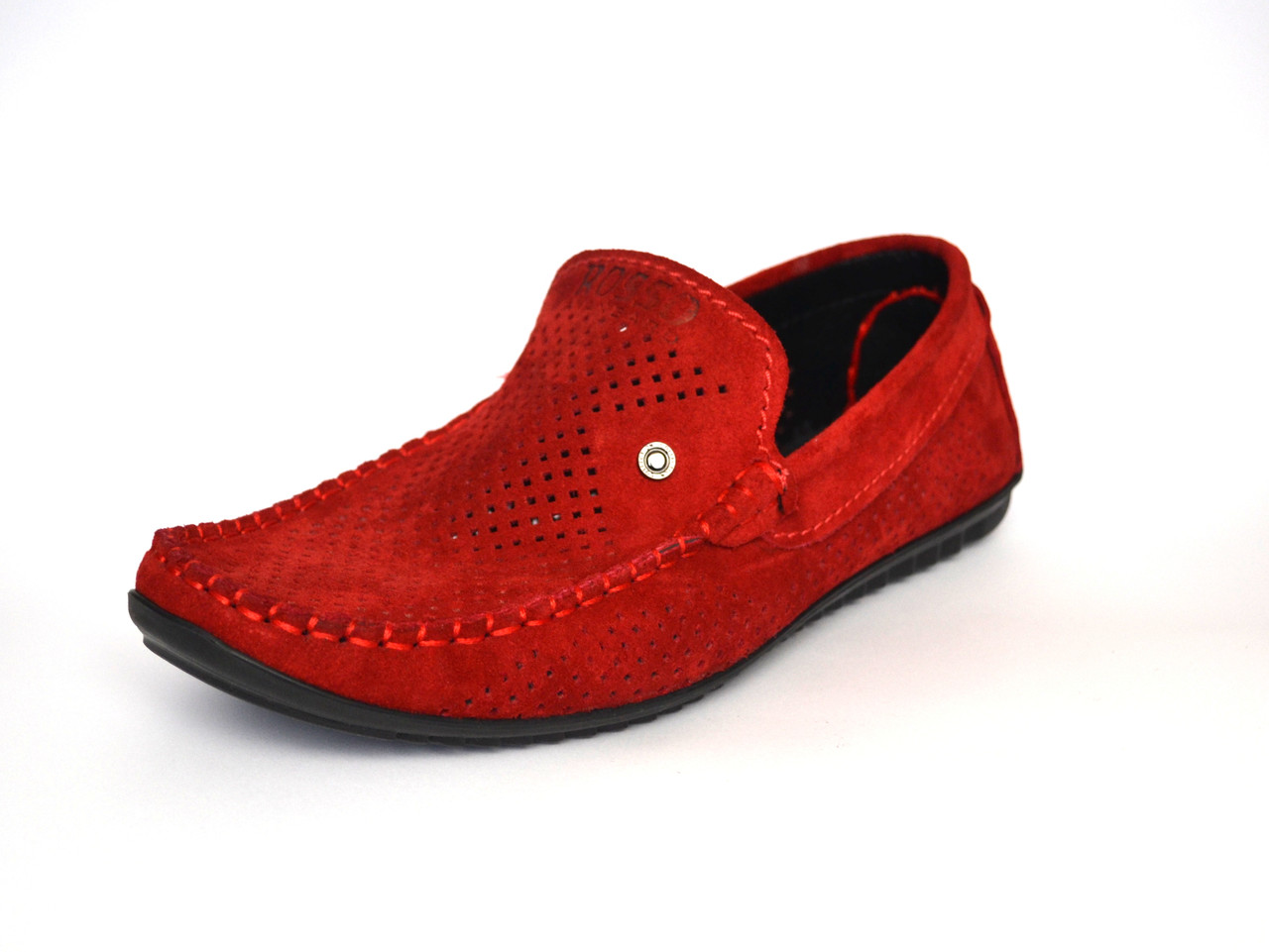 Летние мужские мокасины замшевые с перфорацией красные Rosso Avangard Alberto Red Perf