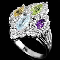 Серебряное кольцо с натуральным топазом,аметистом,цитрином и хризолитом