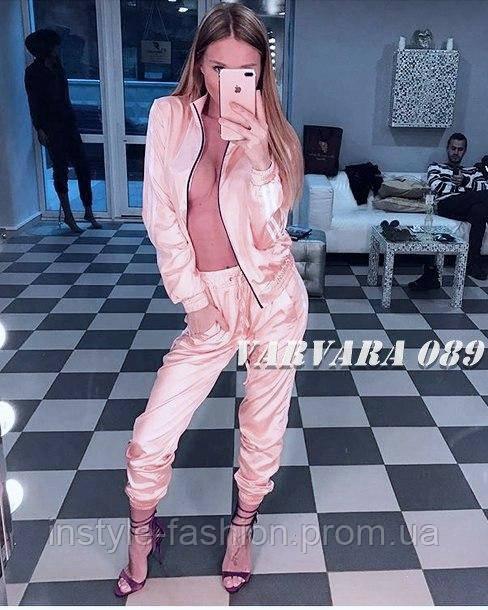 Женский костюм ткань стрейч атлас розовый