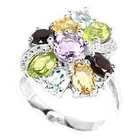 Серебряное кольцо с натуральным топазом,аметистом,цитрином,гранатом и хризолитом