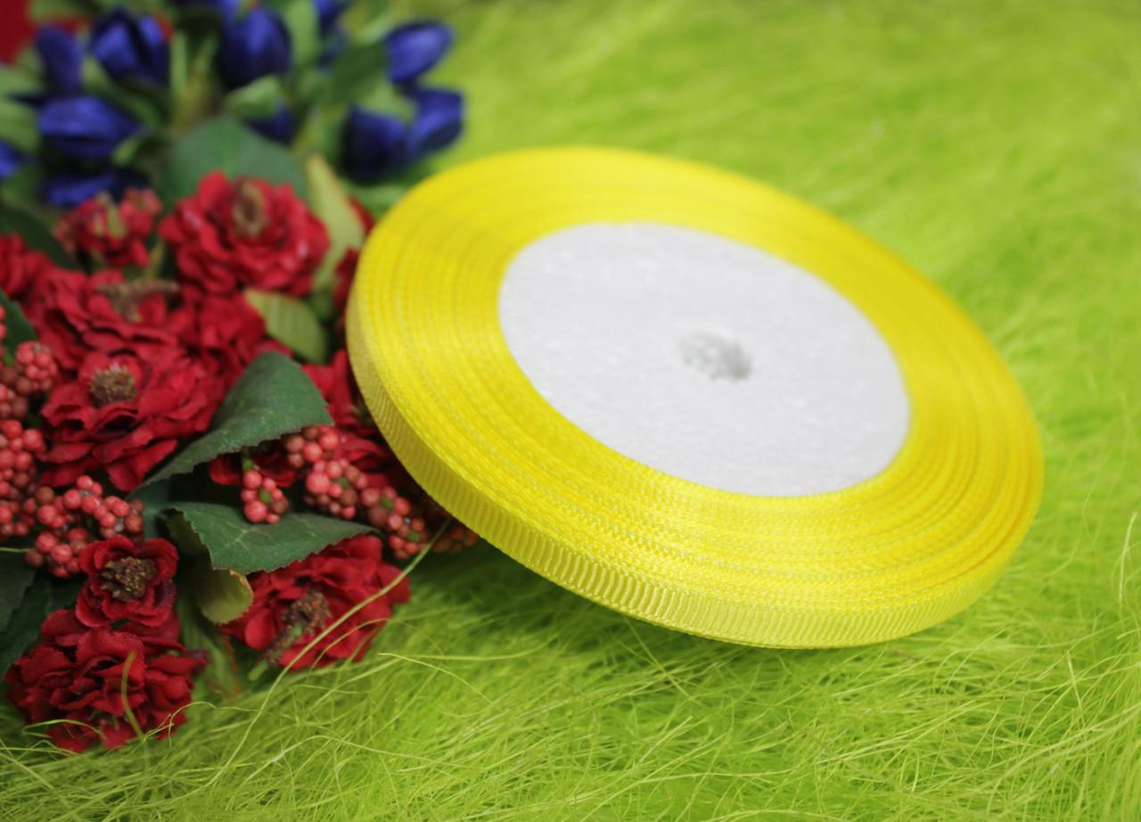 Лента репсовая лимонная 6 мм, 23 м