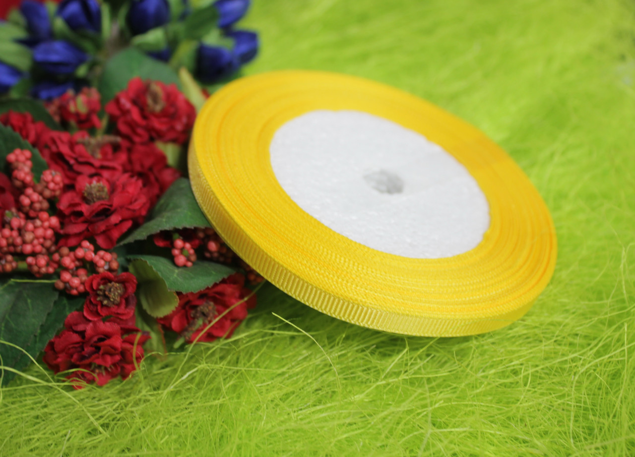 Лента репсовая желтая 6 мм, 23 м