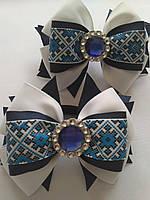 Бант Синяя вышиванка из репсовой ленты, фото 1