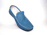 Большие размеры. Летние мужские мокасины замшевые с перфорацией голубые Rosso Avangard BS SE Alberto Blu Perf