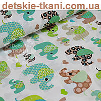 Ткань хлопковая с индийскими слонами мятного цвета (№757а).