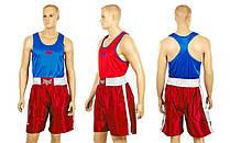 Форма боксерська двостороння ELAST МА-6010-R (PL, розмір XS-XL, майка червона-синя, шорті червоні)
