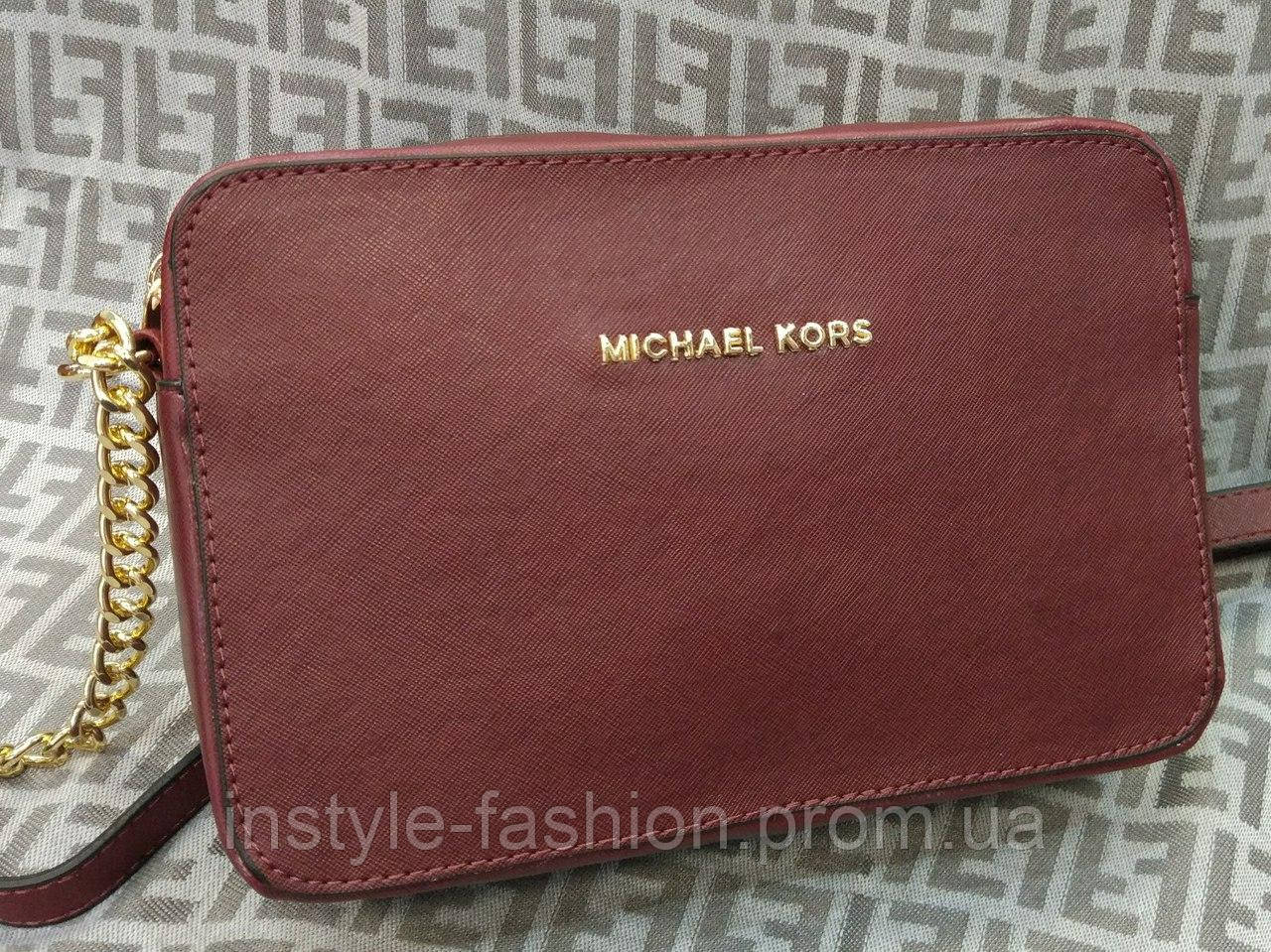 Сумка клатч через плечо на цепочке Michael kors MICHAEL KORS бордовая, фото 1