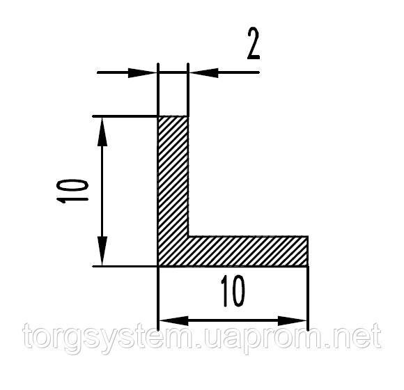 Алюмінієвий куточок 10х10х2 анодований (AS)