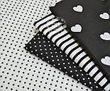 Лоскут ткани №758а с чёрным горошком 4 мм на белом фоне, размер 22*78 см, фото 3