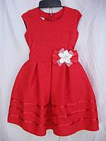 """Платье для девочки (122-140 см) (габардин) элегантное красное Розница """"Odessa Mama"""" M-629"""