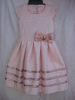 """Платье для девочки (122-140 см) (габардин) элегантное пудра Розница """"Odessa Mama"""" M-629"""