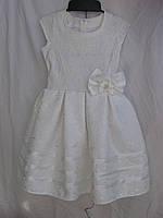 """Платье для девочки (122-140 см) (габардин) элегантное белое """"Odessa Mama"""" M-629"""