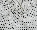 Лоскут ткани №758а с чёрным горошком 4 мм на белом фоне, размер 22*78 см, фото 5