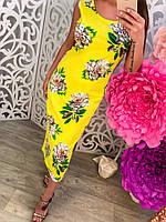 Летнее трикотажное платье с цветочным принтом