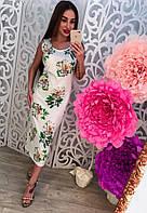 Платье летнее трикотажное с цветами