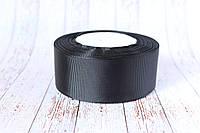 Репсовая лента 4 см, 25 ярд/рулон, черного цвета, фото 1