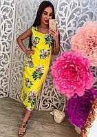 Женское трикотажное платье майка с цветочным принтом