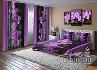 """ФотоКомплект """"Орхидеи на черном"""" Шторы (2,50*1,60), Покрывало  (2,0*1,50)"""