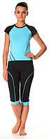 Комплект від BarwaGarments футболка і бриджі 0081/82 Короткий, 42-44(S), Хлопок, темносірий+голубий, 95% бавовна 5% еластан