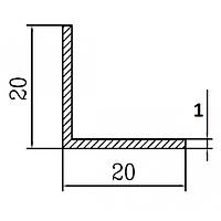 Алюмінієвий Кутник ПАК-0025 20х20х1 / AS Срібло