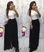 Женское длинное черно-белое платье с гипюром