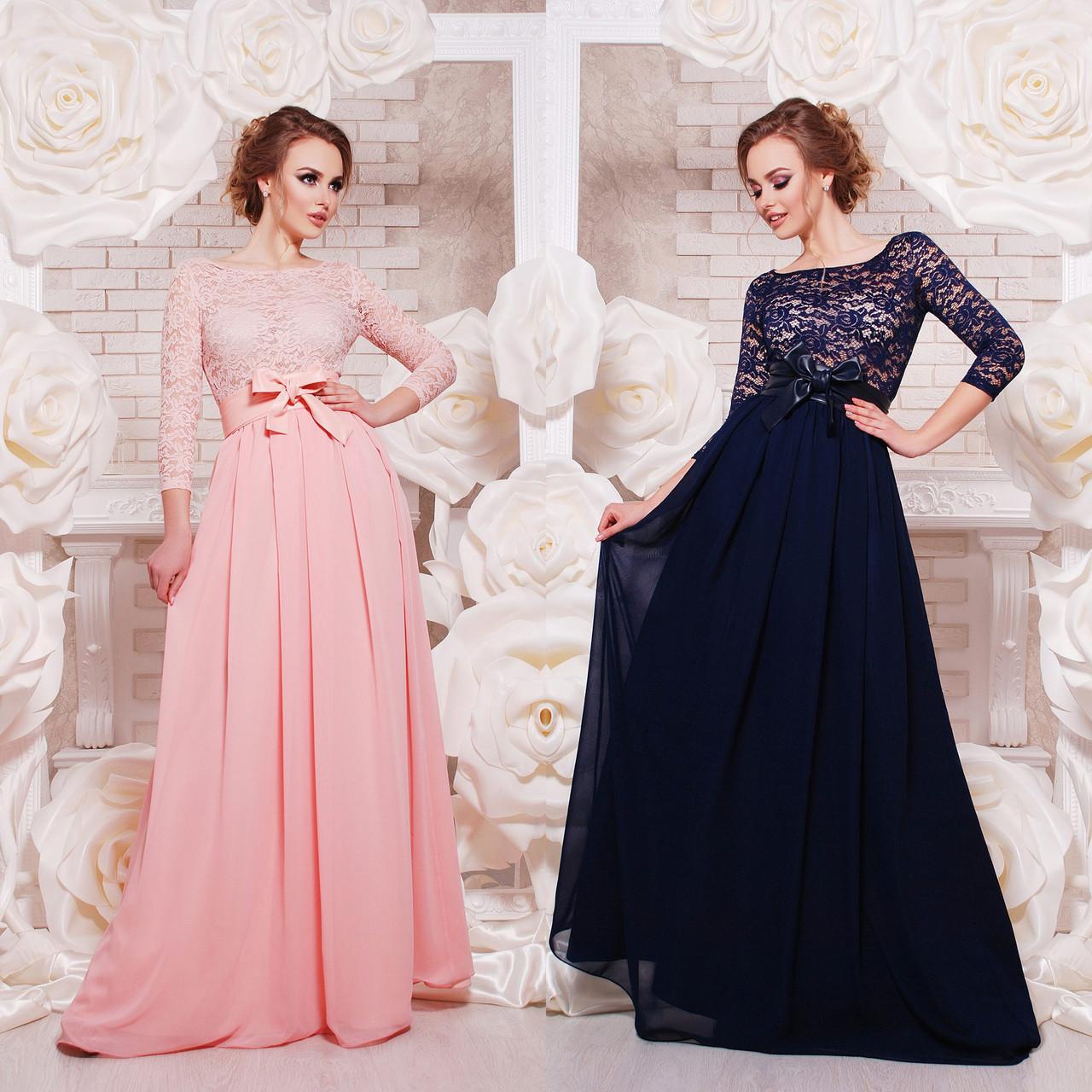 c3859bf1460 Длинное вечернее платье с пышной юбкой из гипюра и шифона - Интернет-магазин
