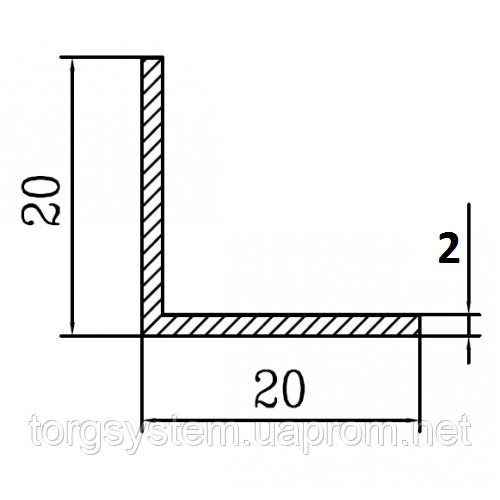 Алюминиевый уголок 20х20х2 без покрытия