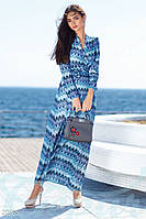 Принтованное женское платье на запах приталенного фасона с длинным рукавом ткань миссони