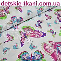 Ткань хлопковая с розово-голубыми бабочками (№762а).