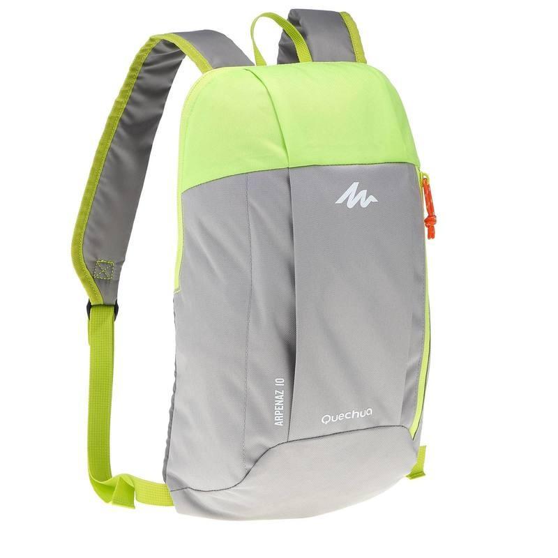 Городской рюкзак Quechua 10л. серый с салатовым (рюкзак для спорта, сп