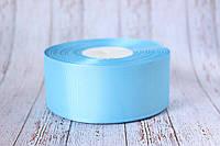 Репсовая лента 4 см, 25 ярд/рулон, голубого цвета