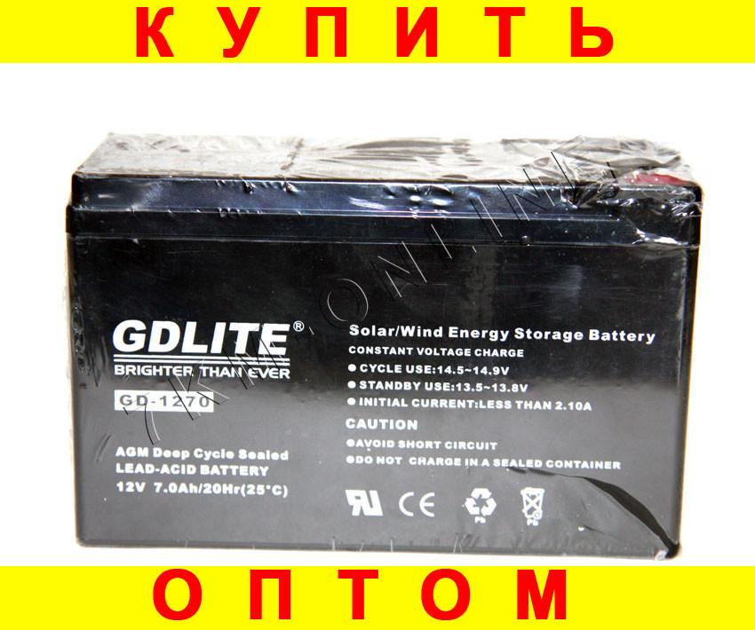 Аккумулятор GDLITE 1270 12 v-7.0 ah 1840 gm + ПОДАРОК: Настенный Фонарик с регулятором BL-8772A