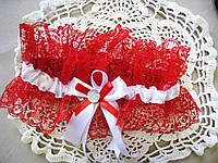 """Свадебная подвязка """"Красное кружево"""""""