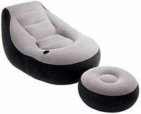 Кресло надувное велюровое 99 х 130 х 76 см INTEX 68564 с пуфиком ZN