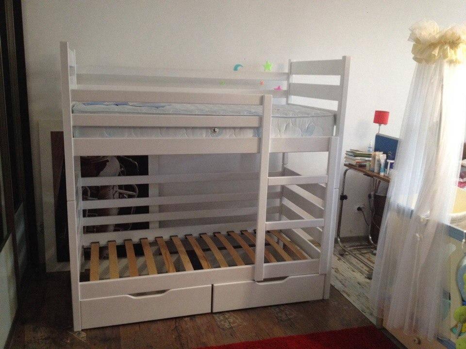 """Двухярусная кровать """"Амели"""" 80*160 цвет Ral 9003 Белый акрил"""