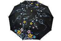 Черный зонт с нежным рисунком
