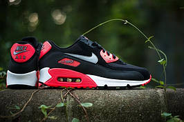 Мужские кроссовки Nike Air Max 90 Black/Red, реплика, супер качество!